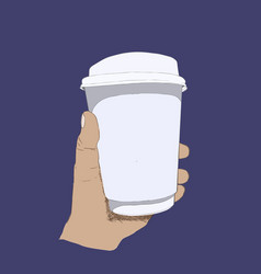 Hot coffee in take away glass paper glass vector