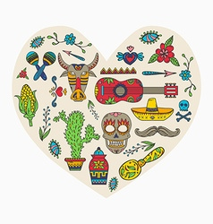 i love mexico set mexican traditional and vector image