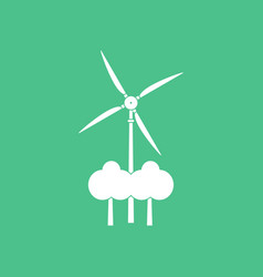 Icon wind turbine between trees vector