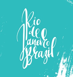 Inscription Rio de Janeiro Brazil background blue vector image