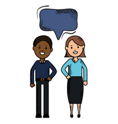 Interracial couple with speech bubbles avatars vector