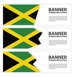 Jamaica flag banners collection independence day vector