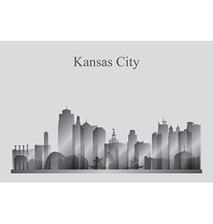 Kansas City skyline silhouette in grayscale vector