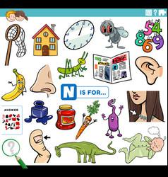 Letter n words educational task for children vector