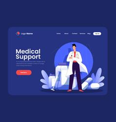 Medical support landing page design vector