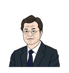 moon jae-in president of south korean flat vector image