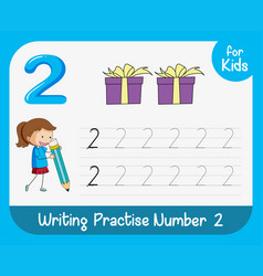 Number two tracing worksheets vector