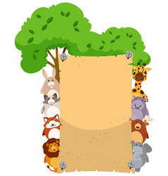 paper template with cute animals on both sides vector image