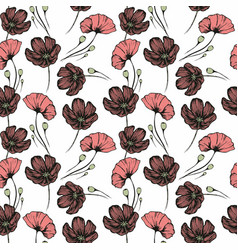 poppies seamless hand drawn pattern for the design vector image