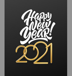 realistic gold metal inscription 2021 gold vector image