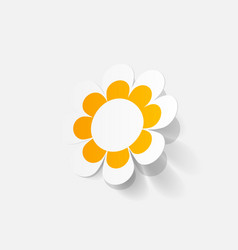 realistic paper sticker flowers camomile vector image