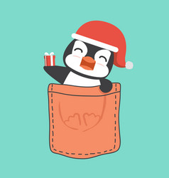 Santa claus penguin with gift box in pocket vector