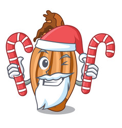 Santa with candy shallot in a glass bowl cartoon vector