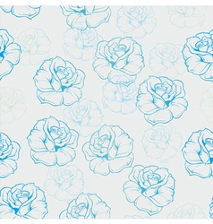 Seamless floral background with blue and mint rose vector image