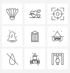 Set 9 simple line icons for web and print such vector