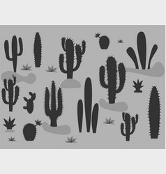 set cute cactus and succulents in pots vector image