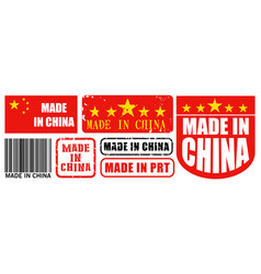 set made in china label for retail product vector image