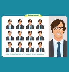 set male facial emotions business man vector image