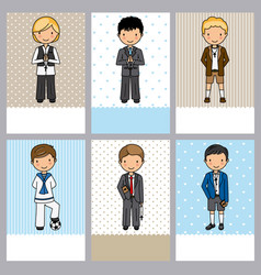 Set of 6 first communion boy cards vector