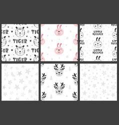 Set of nursery kids seamless patterns vector