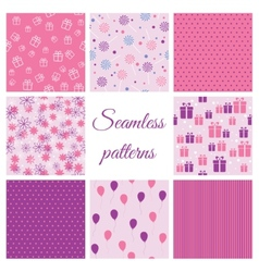Set of seamless patterns for birthday vector image