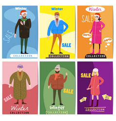 Set of winter sale cards with the characters of vector