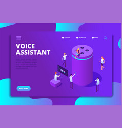 Smart speaker concept voice assistant 4ir vector