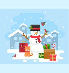 snowman winter theme background for christmas vector image