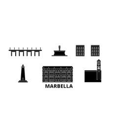 Spain marbella flat travel skyline set spain vector