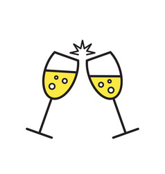 sparkling champagne glasses wine glass icon vector image
