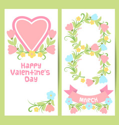spring easter valentine 8 march banner set vector image