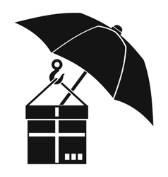 Umbrella and a cardboard box icon simple style vector image