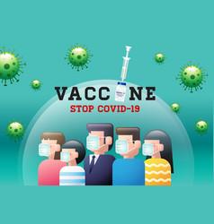 Vaccine stop covid-19 coronavirus face mask vector