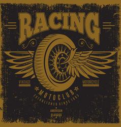 vintage moto club poster vector image