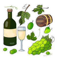 white wine a bunch of grapes and grape leaves vector image