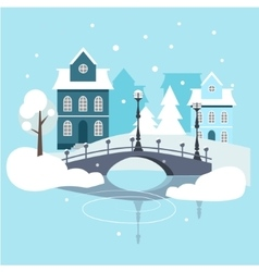 Winter urban landscape flat design vector