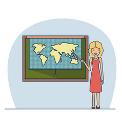 woman teacher with blonded short hair on classroom vector image