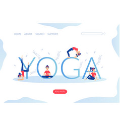 yoga landing page template young woman practicing vector image