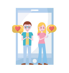 young couple with smartphone and set icons vector image