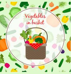 fresh vegetable organic set in basket vector image