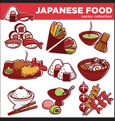 japanese food dishes icons for japan vector image vector image