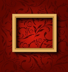 Picture wooden frame on vintage wall vector image vector image
