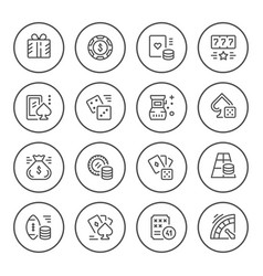 set round line icons of gambling vector image vector image