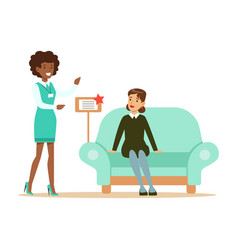 store seller showing blue sofa to woman smiling vector image vector image