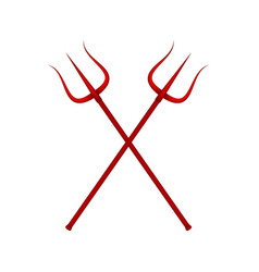 two crossed tridents in red design vector image vector image