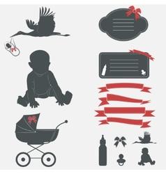 Baby shower set Silhouette design elements vector image vector image