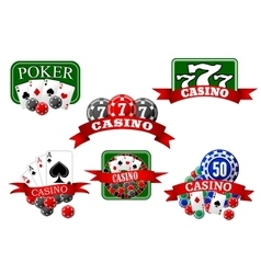 Casino jackpot and poker gambling icons vector