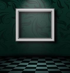 Picture frame in dark empty interior vector