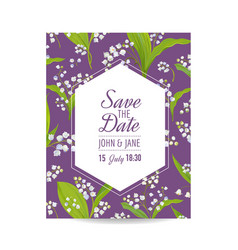 save the date card with lily valley flowers vector image vector image