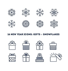 Snowflakes and gifts outline icons set for new vector image